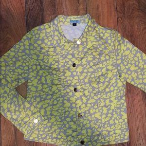 Cynthia Rowley Neon Green & Grey Jean Jacket